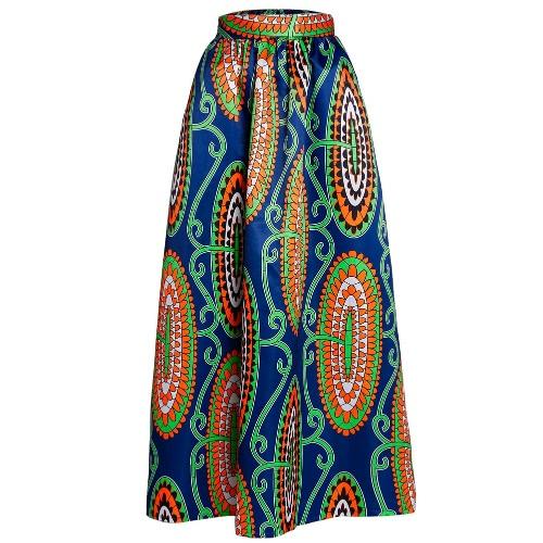 Buy Women Skirt African Print Ankara Dashiki Bohemian High Waist Pleated A-Line Maxi Flare