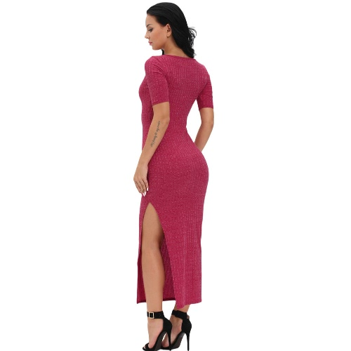 New Sexy Women Ribbed Long Dress Scoop Neck High Thigh Split Short Sleeve Bodycon Maxi Dress Burgundy/Grey