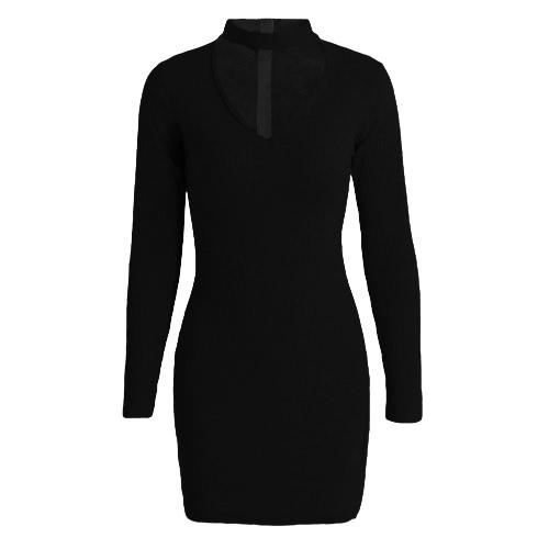 New Sexy Women Bodycon Dress Choker V Neck Long Sleeve Solid Ribbed Warm Mini Dress Party Clubwear Black/Grey