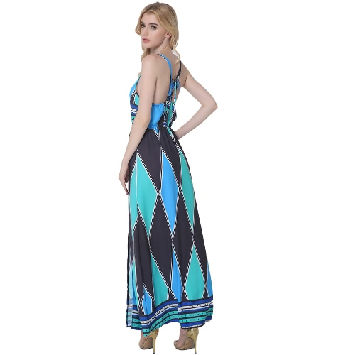 Women Cami Dress Colorblock Geometric Pattern Print V Neck Sleeveless Side Split Maxi Casual One-Piece Blue