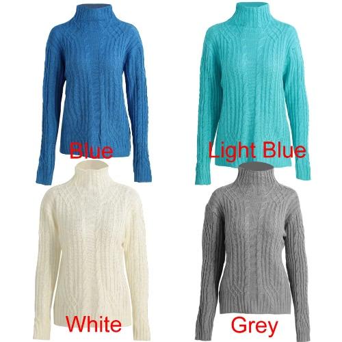 Autumn Winter Women Sweater Turtleneck Twist Stretchy Slim Knit Solid Jumper Pullover Top