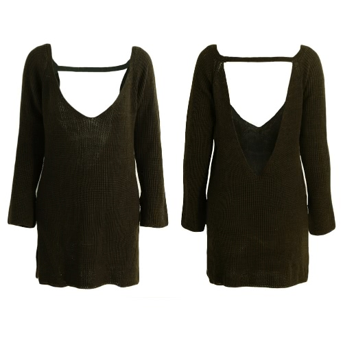 New Sexy Women Knitted Sweater Backless Deep V-Neck Long Sleeve Loose Warm Pullover Tops Knitwear Red/Khaki/Army GreenKnitwear<br>New Sexy Women Knitted Sweater Backless Deep V-Neck Long Sleeve Loose Warm Pullover Tops Knitwear Red/Khaki/Army Green<br><br>Blade Length: 30.0cm