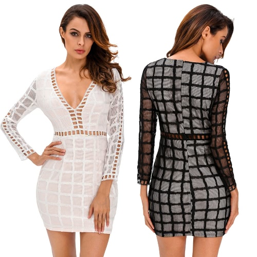 New Women Sexy Dress Plaid Pattern Cut Out V Neck Sheer Long Sleeve Bodycon Party Clubwear Black/WhiteDresses<br>New Women Sexy Dress Plaid Pattern Cut Out V Neck Sheer Long Sleeve Bodycon Party Clubwear Black/White<br><br>Blade Length: 28.0cm