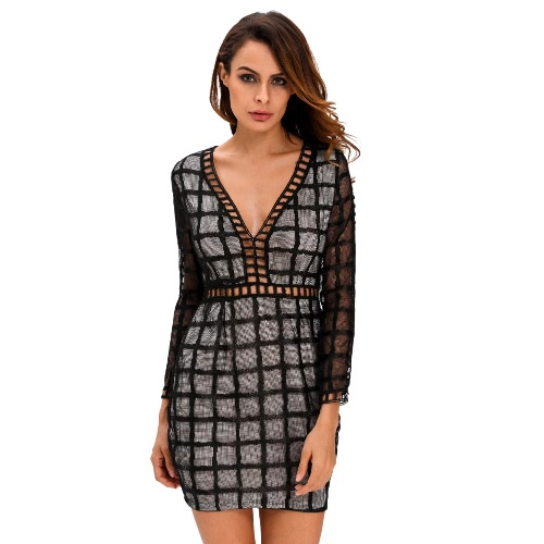 Buy Women Sexy Dress Plaid Pattern Cut V Neck Sheer Long Sleeve Bodycon Party Clubwear Black/White