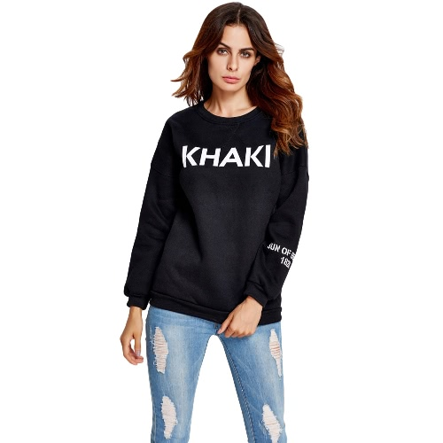 New Fashion Women Sweater Letter Print O-Neck Long Sleeve Solid Color Casual Pullover Hoody Tops Khaki/Black