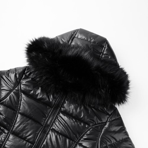 New Fashion Women Down Jacket Faux Fur Hood Cuffs Long Sleeves Quilted Warm Parka Coat Overcoat Black