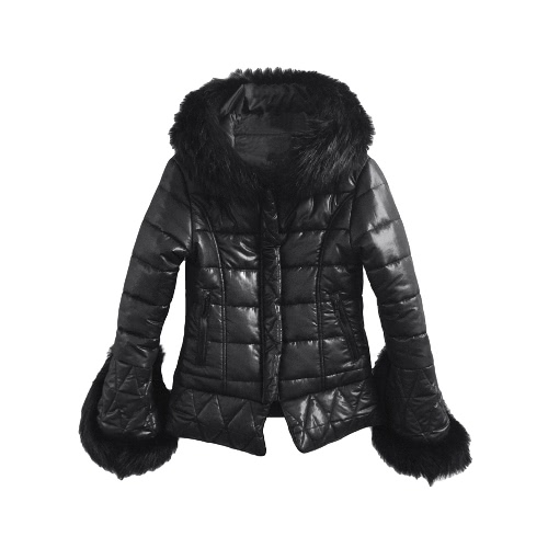 Buy Fashion Women Jacket Faux Fur Hood Cuffs Long Sleeves Quilted Warm Parka Coat Overcoat Black