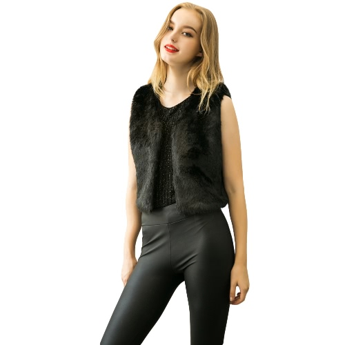 Buy Winter Women Faux Fur Coat Warm Shaggy Vest Sleeveless Waistcoat Short Jacket Outerwear