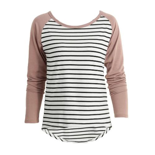 New Fashion Women T-Shirt Contrast Striped Long Sleeve High-Low Hem Casual Blouse Tee Tops Coffee/Purple