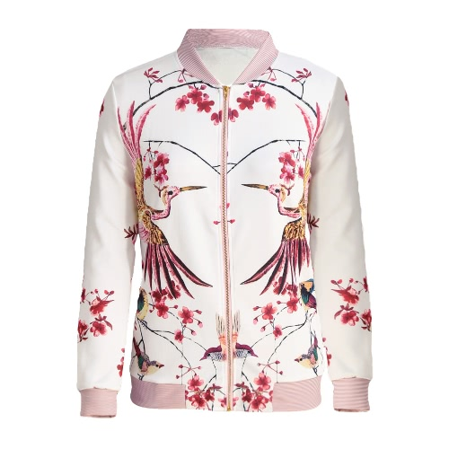 New Fashion Women Bomber Jacket Floral Birds Striped Print Stand Colloar Long Sleeve Casual Baseball Coat White