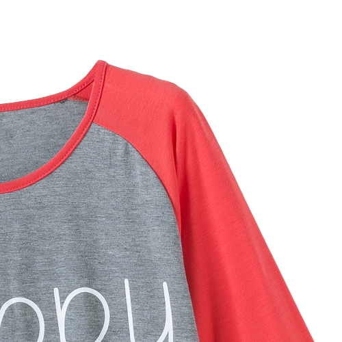 New Fashion Women T-Shirt Letter Print Contrast Color Three Quarter Sleeve Casual Cotton Blouse Tee Tops Grey