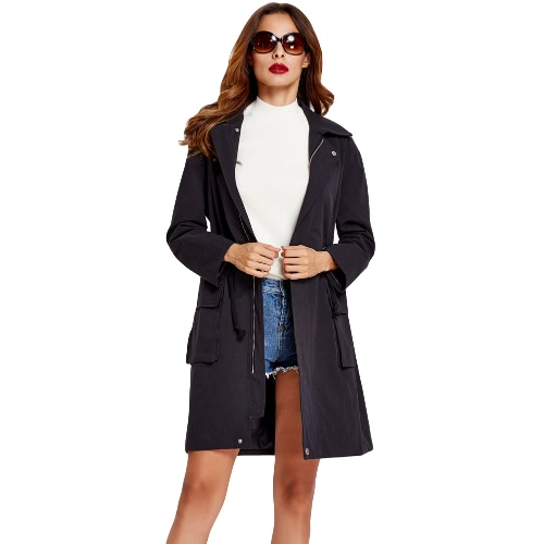 Buy Winter Women Trench Coat Pockets Zipper Press Stud Drawstring Waist Turn-Down Collar Outerwear Jacket Black