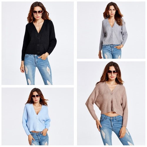 New Fashion Women Knitted Cardigan Long Batwing Sleeve Button Winter Loose Short Coat Outerwear Sweater