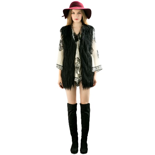 Buy Fashion Women Fluffy Faux Fur Vest Sleeveless Coat Solid Furry Winter Warm Midi Gilet Outerwear Jacket