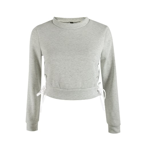 New Women Short Sweater Lace Up Pullover Solid Long Sleeve Casual Warm Crop Top Hoodie Sweatshirts Grey/PinkBlazers &amp; Coats<br>New Women Short Sweater Lace Up Pullover Solid Long Sleeve Casual Warm Crop Top Hoodie Sweatshirts Grey/Pink<br><br>Blade Length: 30.0cm