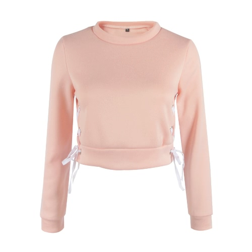 New Women Short Sweater Lace Up Pullover Solid Long Sleeve Casual Warm Crop Top Hoodie Sweatshirts Grey/Pink