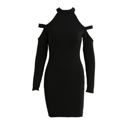 Women Bodycon Dress Cut Out Shoulder Long Sleeves Choker Turtle Neck Stretchy Sexy Party Dress Black/Army Green/RedDresses<br>Women Bodycon Dress Cut Out Shoulder Long Sleeves Choker Turtle Neck Stretchy Sexy Party Dress Black/Army Green/Red<br><br>Blade Length: 30.0cm
