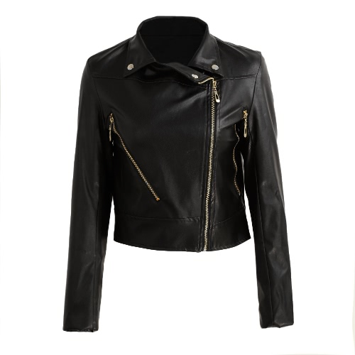 Fashion Women Short Pu Leather Jacket Long Sleeve Bomber Motorcycle Zipper Coat Slim Punk Outerwear Black