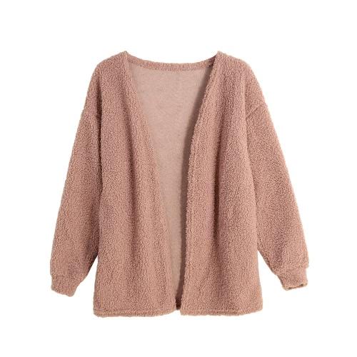 New Fashion Women Fleece Cardigan Open Front Solid Color Long Sleeve Warm Outerwear Sweater Knitwear Pink