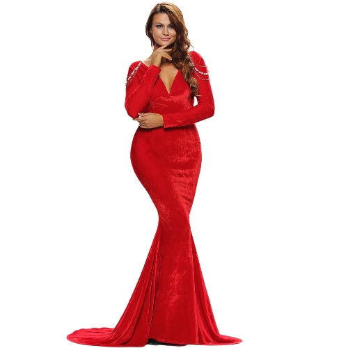 Buy Elegant Women Velvet Evening Party Gown V Neck Backless Jeweled Chain Bodycon Fishtail Mermaid Long Maxi Dress Red
