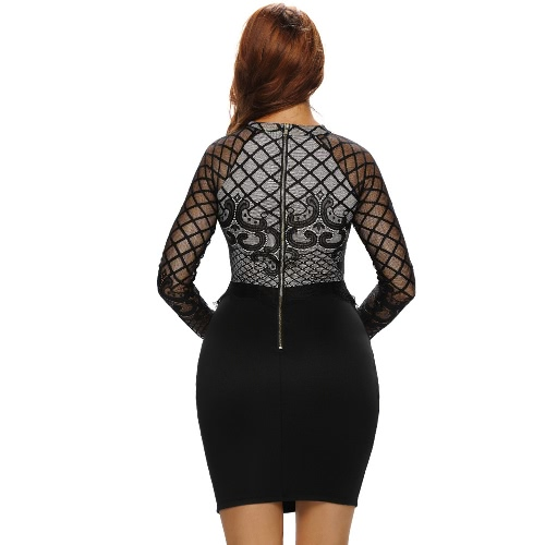 New Women Lace Bodycon Dress Crochet Long Sleeve Elegant Club Party Slim Sheath Dress Black