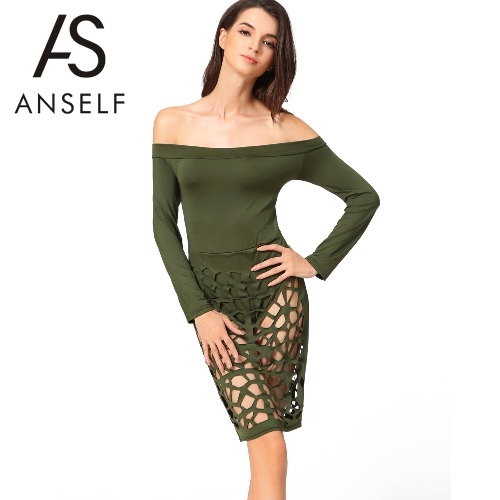 Buy Sexy Women Burning Flower Hollow Bodycon Dress Shoulder Long Sleeve Night Club Bandage Army Green