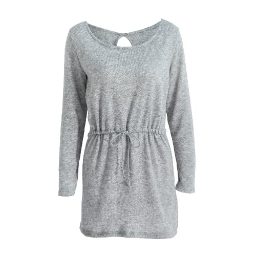 New Fashion Women Knitted Sweater Dress Backless Cutout Drawstring Casual Long Knitwear Jumper Top Grey