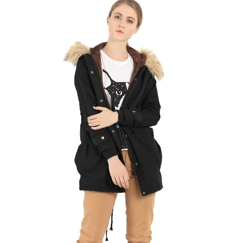 Buy Women Long Parka Coat Faux Fur Zipper Button Drawstring Large Pockets Fleece Warm Overcoat Outerwear Hooded Dark Green/Black/Khaki