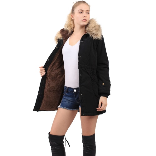 Buy Winter Women Faux Fur Parka Hoodie Quilted Fleece Lining Drawstring Waist Hem Pockets Warm Outwear Black/Dark Green