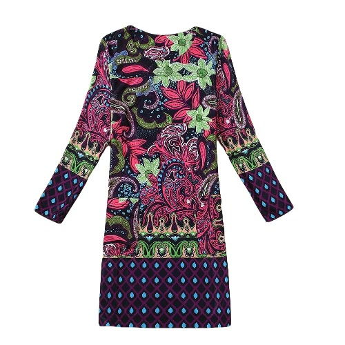 Casual Floral Print Round Neck Long Sleeve Spring Autumn Dress for WomenDresses<br>Casual Floral Print Round Neck Long Sleeve Spring Autumn Dress for Women<br><br>Blade Length: 21.0cm