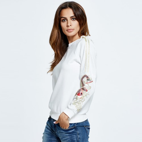 New Women Sweater Pullover Koi Embroidery O-Neck Long Sleeve Casual Warm Top Black/White