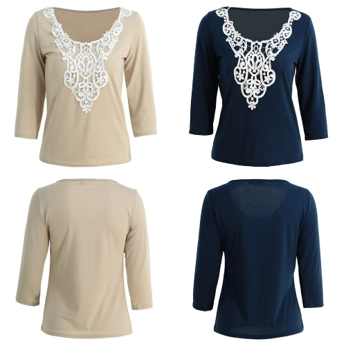 New Fashion Women Solid Blouse Crochet Lace Splice O-Neck Half Sleeves Pullover Casual Elegant Top Shirt Beige/Dark Blue