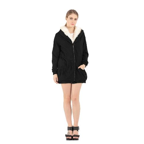 Buy Women Hooded Coat Jacket Faux Fur Lining Collar Zip Drawstring Waist Pockets Long Thicken Parka Outwear