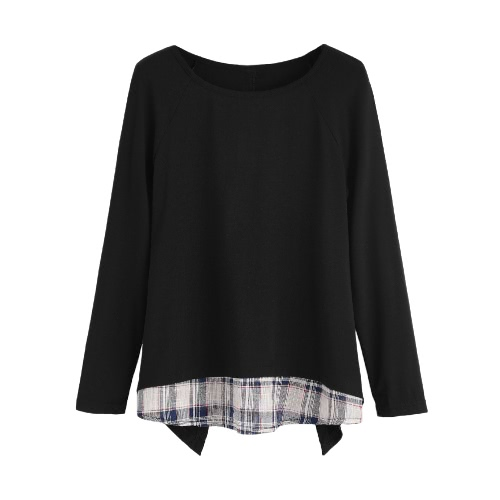 New Fashion Women Faux Two-Piece T-Shirt Plaid V Cutout Splicing Round Neck Long Sleeve Top Blouse BlackShirts &amp; Blouses<br>New Fashion Women Faux Two-Piece T-Shirt Plaid V Cutout Splicing Round Neck Long Sleeve Top Blouse Black<br><br>Blade Length: 20.0cm