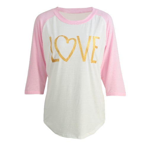 Fashion Women T-Shirt Round Neck 3/4 Sleeve Splice Color Sexy Slim Casual T-Shirt Tops Pink/BlueShirts &amp; Blouses<br>Fashion Women T-Shirt Round Neck 3/4 Sleeve Splice Color Sexy Slim Casual T-Shirt Tops Pink/Blue<br><br>Blade Length: 20.0cm