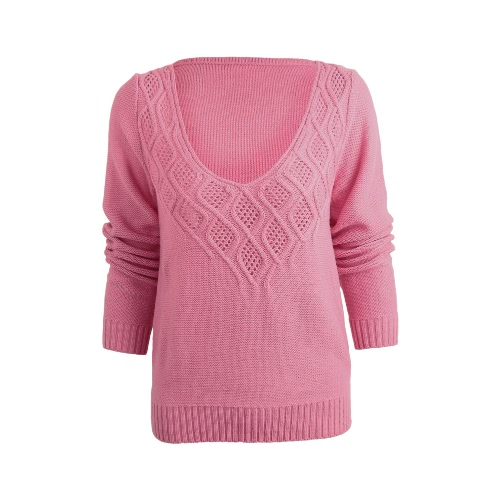 New Women V Neck Knitted Sweater Low Cut Twist Cutout Loose Pullover Knitwear Jumper Top Black/Purple/Pink