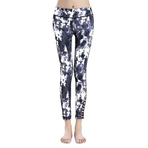 Fashion Women Sports Pants Print Elastic Running Fitness Yoga Trousers Hollow Out Slim Leggings Purple