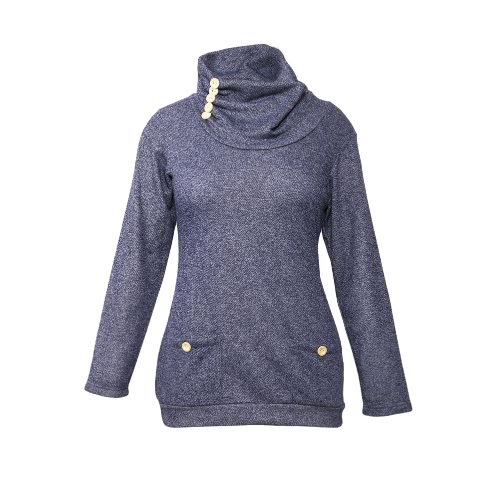 New Fashion Women Turtleneck Sweatshirt Long Sleeves Pockets Buttons Solid Color Pullover TopTops &amp; Vests<br>New Fashion Women Turtleneck Sweatshirt Long Sleeves Pockets Buttons Solid Color Pullover Top<br><br>Blade Length: 25.0cm