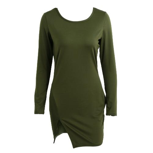 New Sexy Women Bodycon Dress Solid Color Split Long Sleeve O Neck Warm Slim Mini Dress