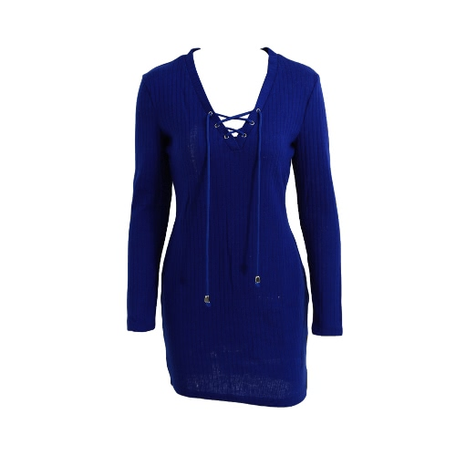 New Sexy Women Knit Dress Lace Up V-Neck Long Sleeve Solid Casual Party Mini Sweater Dress