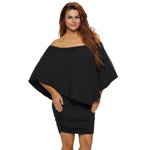 Buy Sexy Women Bodycon Solid Dress Shoulder Overlay Plus Size Party Clubwear Mini Pencil