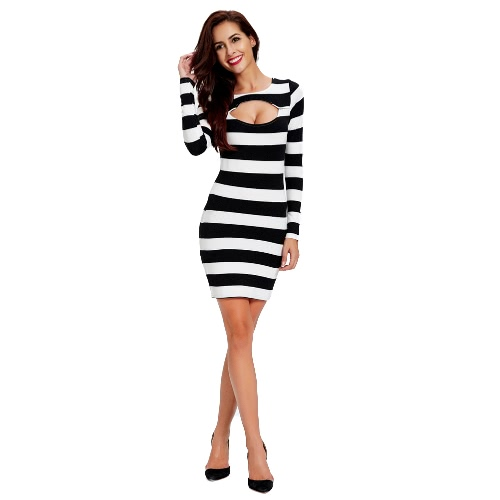 New Fashion Women Dress Striped Print Cut Out Front Round Neck Long Sleeve Bobdycon Sexy One-Piece Black