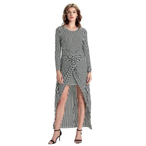 New Fashion Women Maxi Dress Striped Print Twist Knot Front Asymmetrical Long Sleeve One-Piece Black