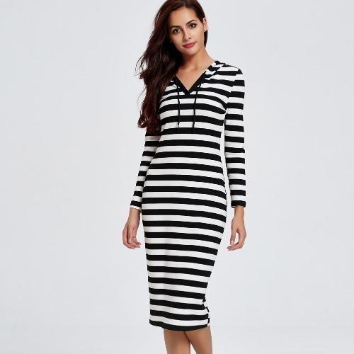 New Sexy Women Striped Hooded Dress Long Sleeve V Neck Casual Sheath Bodycon Midi Dress Black