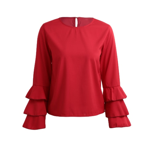 New Fashion Women Flared Long Sleeve Blouse O Neck Keyhole Back Solid Lady Casual Blouse Top Light BlueShirts &amp; Blouses<br>New Fashion Women Flared Long Sleeve Blouse O Neck Keyhole Back Solid Lady Casual Blouse Top Light Blue<br><br>Blade Length: 15.0cm