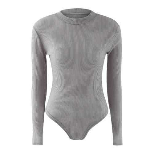 New Sexy Women Jumpsuit Turtleneck Button Snap Stretch Bodysuit Playsuit Short Rompers Black/Grey