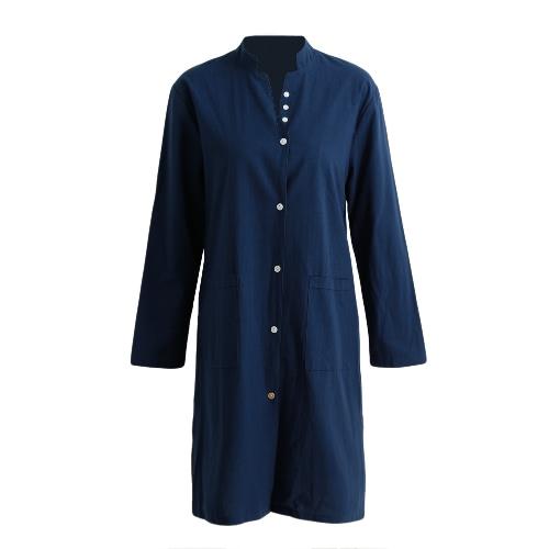 New Fashion Women Shirt Dress Stand Collar Long Sleeve Button Split Hem Solid Loose Dress