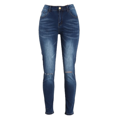Fashion Women Denim Skinny Jeans High Waist Stretchy Ripped Hole Knee Pencil Pants Trousers BluePants &amp; Shorts<br>Fashion Women Denim Skinny Jeans High Waist Stretchy Ripped Hole Knee Pencil Pants Trousers Blue<br><br>Blade Length: 25.0cm