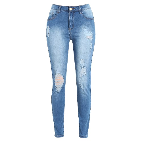 Women Ripped Jeans Denim Destroyed Frayed Hole Washed Zipper Skinny Pants Pencil Trousers Tights BluePants &amp; Shorts<br>Women Ripped Jeans Denim Destroyed Frayed Hole Washed Zipper Skinny Pants Pencil Trousers Tights Blue<br><br>Blade Length: 32.0cm