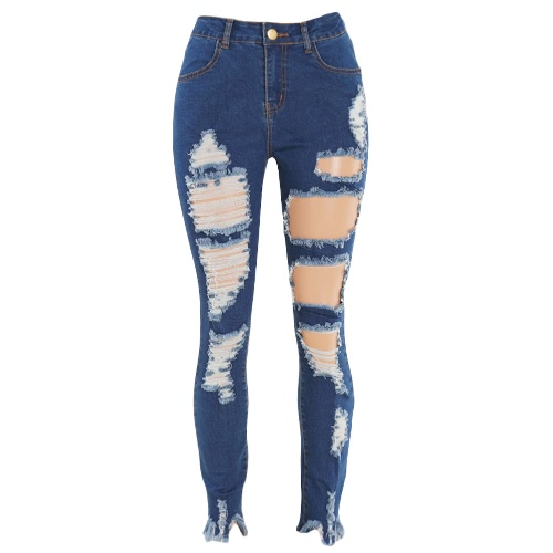 New Women Ripped Jeans Denim Destroyed Frayed Hole Zipper Pockets Casual Skinny Pencil Pants Trousers Tights BluePants &amp; Shorts<br>New Women Ripped Jeans Denim Destroyed Frayed Hole Zipper Pockets Casual Skinny Pencil Pants Trousers Tights Blue<br><br>Blade Length: 32.0cm